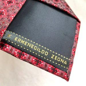 Ermenegildo Zegna Tie CARDINAL Red pattern Silk